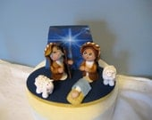 Polymer clay Nativity Set,  scene, Christmas, Mary, Joseph, Jesus,  sheep, base, small, OOAK, handmade,