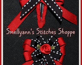 Red & Black SMALL Boutique Hair Bows on Snap Clips with Rose Embellishments