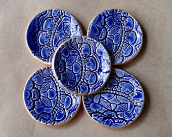 FIVE Mirror Blue Itty Bitty Ceramic Ring Dishes edged in gold 2 inches round