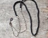 Silver Edged Black Obsidian Arrowhead Pendant & Antique Bohemian Matte Glass Bead Necklace