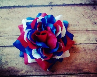 Red White and Blue Hair Clip, USA Hair Clip, American Hair Flower, American Flag Hair Clip