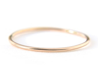Extra Skinny 14K Yellow Gold ring - thin stacking ring - solid gold - delicate dainty jewelry - simple gossamer band - Ina 0.8mm 14K YG