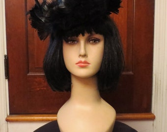 Vintage 1940's Black Wool Tilt Hat with Feathers Goth Burlesque