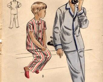 Vogue 2467 Pajamas PJs 2 Piece Pyjamas with Drawstring Waist Size 14 VINTAGE 1950s