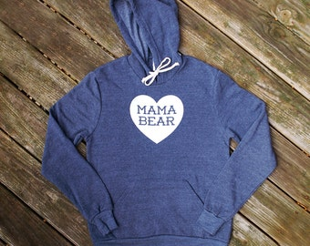 Mama Bear with Heart Heather Navy Blue Hooded Sweatshirt with White print - Cozy Winter Gift for Mom, Mother's Day, Family Photos