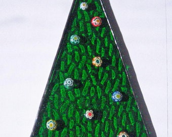 Stained Glass Christmas Tree with Millefiori Ornaments, Christmas tree ornament