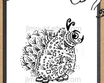 Creepy Adult Coloring Garden Creature Bug Digital Stamp