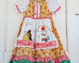 5T Goldilocks Dress Costume  READY to SHIP Embroidered Goldilocks and 3 Bears Apron Dress