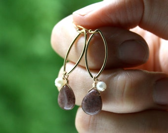 White Pearl and Gemstone Earrings Gold . Gift for Mom Jewelry . Long Gold Earrings Dangle Geometric - Grace Collection
