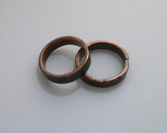 Hammered copper ring band, hand forged - copper jewelry - rustic ring - sizes 11 - men's ring - thumb ring