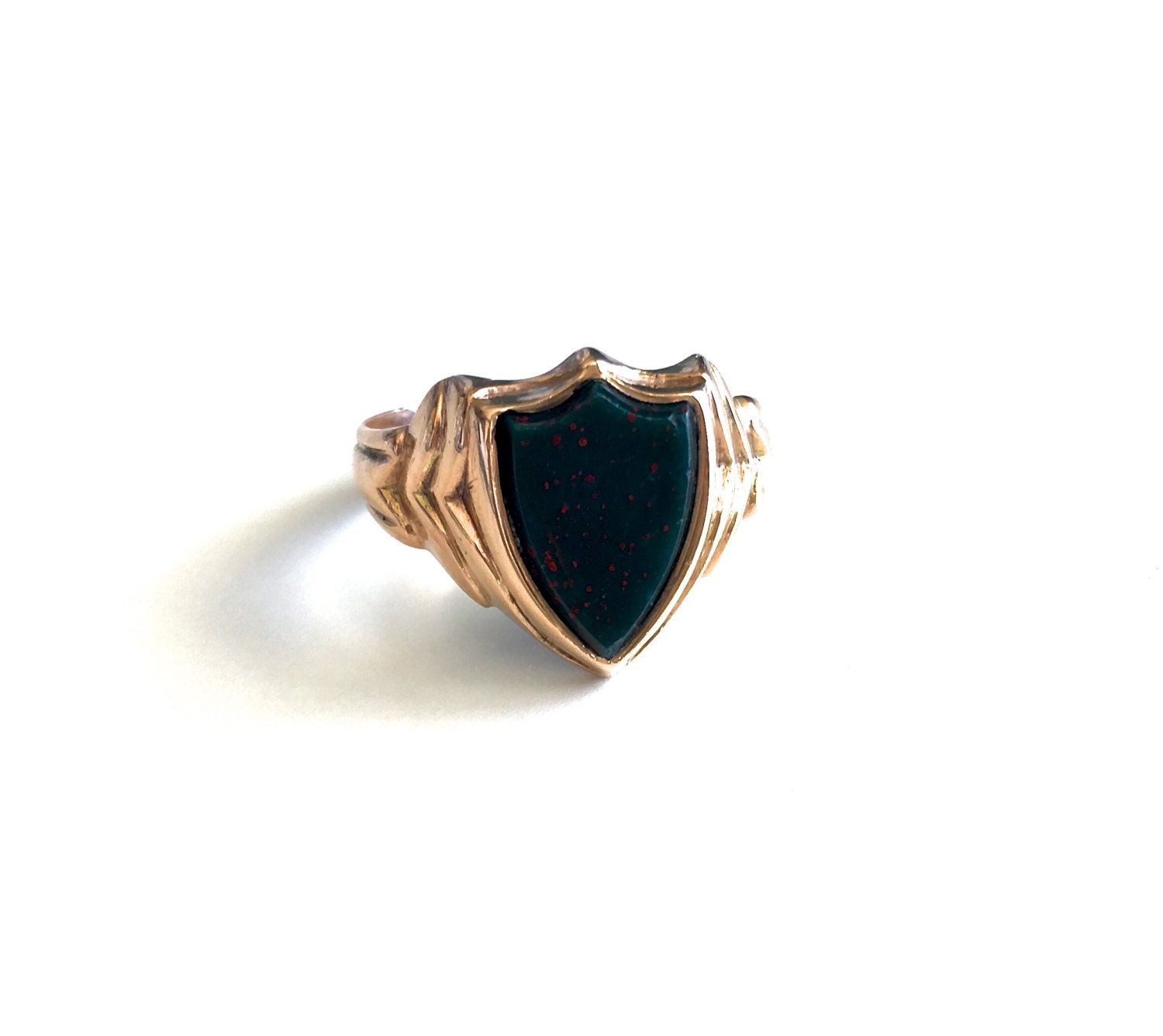 antique bloodstone shield signet 9k gold ring by luxcharm