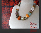 Art to Wear statement necklace, chunky stone and artisan glass beads, one of a kind