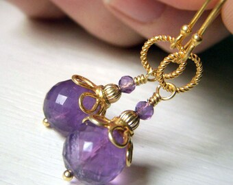 Round Amethyst Earrings, Gold Vermeil Purple Gemstone Faceted Dangle, Genuine Gemstone Jewelry, February Birthstone
