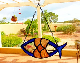 Religious Stained Glass Fish Suncatcher