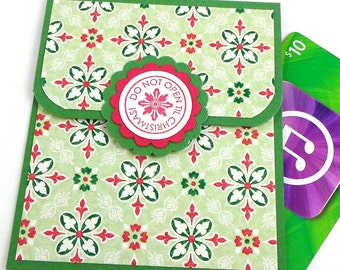 Christmas Gift Card Holder - Green and Red Holiday Money Card - Do Not Open Til Christmas Card - Christmas Giftcard Envelope - Tip Envelope