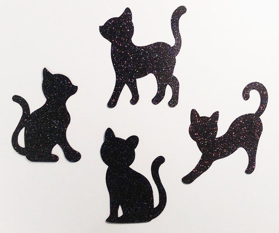Kitty Cat Die Cut Shapes Cosmic Black Multicolor Glitter Cardstock - 4 Playful Pet Kitten Poses - Scrapbook Greeting Card Halloween Party