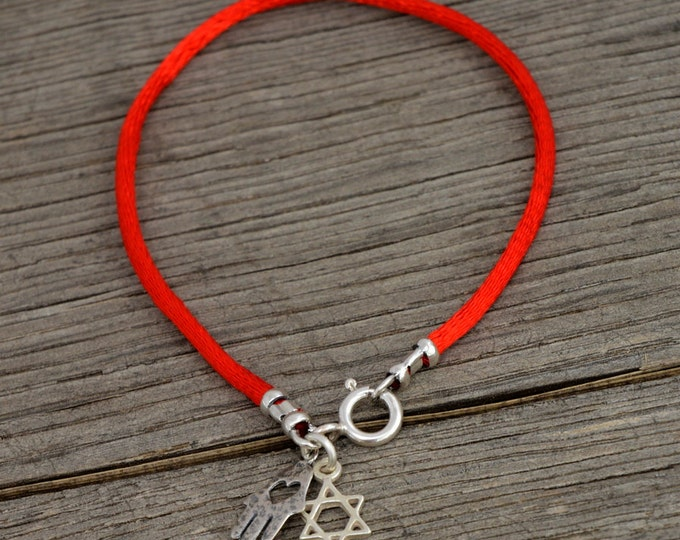 925 Sterling Silver Star of David & Hamsa Hand on Red String Bracelet - Choose Size!