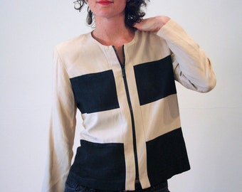 She Means Business, 80s Color Block Jacket, Black & Tan 80s Jacket, Boxy Two Tone Jacket, Rayon Boxy Jacket, 80s Zip Front Top, M