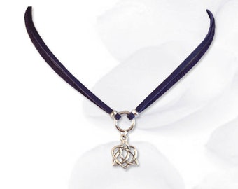 Bound Heart Celtic Knot Submissive Collar BDSM Slave Collar Purple Leather Collar BDSM Jewelry
