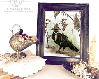 Nursery Decor - Crow Woodland Decor - Woodland Nursery Art - Woodland Critter Crow - Crow Cottage Decor - Raven Art - Crow Wall Art - Crow