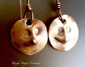 Rustic Copper Dangle Earrings, Man in the Moon Earrings, Hammered Metal, Antiqued Copper Metalwork, Primitive Style