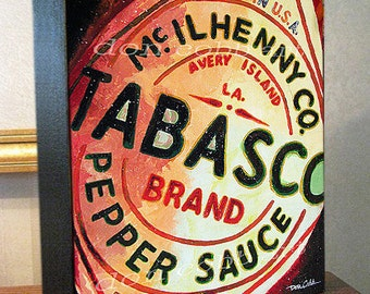 """Kitchen Decor """"Hot Sauce"""" Art 8x10x1.5"""" and 11x14x1.5"""" Gallery Wrap Canvas Prints Signed and Numbered"""