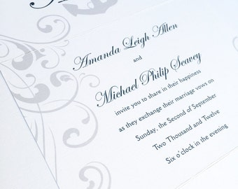 Anchor Wedding Invitation, nautical wedding invitations, navy blue invitation, silver invite, cruise wedding invitation, casual invitation