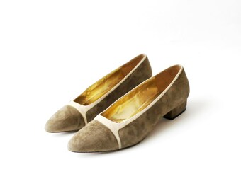 1990's ESCADA Tan Two Tone Slip On Flats
