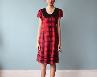 red plaid babydoll dress / black velvet party dress / 1990s / small