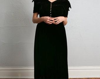 SALE- Black Velvet Dress . 1940s