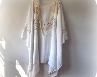Linen Caftan, Plus Size, Long Shawl, Embroidered Tunic, Soft White Poncho