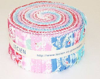 "Flower Sugar Jelly Roll 2 1/2"" fabric strips - Lecien Fall 2015 Floral Japanese quilt cotton Sushi Roll set - fabric pack 42 pieces"
