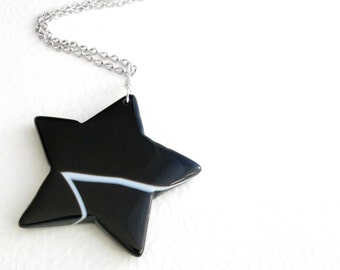 Black Star Necklace, Striped Agate Pendant, Astronomy Jewelry