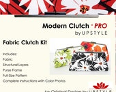 Modern Clutch - PRO Fabric Clutch Kit by UPSTYLE - DIY Clutch Purse Supplies Purse Frame Learn to Sew Tutorial Sewing Pattern
