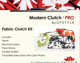 Modern Clutch - PRO Fabric Clutch Kit by UPSTYLE - Red White Black Modern Floral - From Daisy Splash Collection by Jane Dixon
