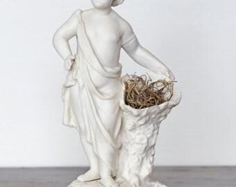 Vintage Roman Boy Bisque Figurine with Cornucopia Vase