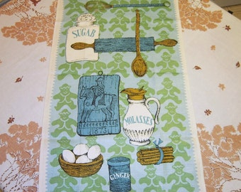 Vintage Towel Gingerbread Cookies in an Old Time Kitchen MINTY