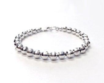 Bracelet - 6mm Faceted Sterling Silver Bead Bracelet - Everyday Wear - 925 Silver Ball Bracelet - Diamond Cut Mirror Beads