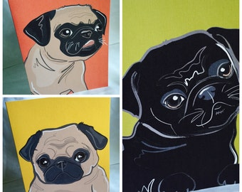 Summer Pugs Greeting Card Trio