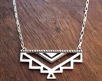 Maya necklace - ornate geometric Aztec tribal necklace - geometric necklace - statement necklace - boho necklace