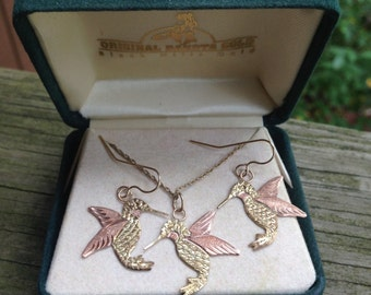 Black Hills Gold Hummingbird Necklace and Earring Set