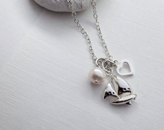 Sterling Silver Sailing Boat Necklace