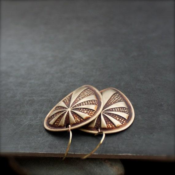 SALE - Rust Brown Shield Dangle Earrings Patina Large Brass Huntress Tribal Boho Jewellery