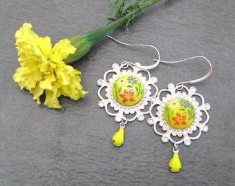 Yellow Flower Drop Earrings, Vintage Flower Earrings