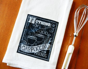 Chalkboard Cappuccino Tea Towel, Coffee Flour Sack Dish Towel, Applique Kitchen Towel, Chalkboard Tea Towel, Coffee Lover Gift