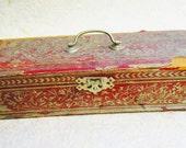 Trinket Box, Red Wood Satin Lined Box, Vintage Treasure Box, Small Keepsake Box, Vintage Box, Stash Box, Hinged Box, Decorative Antique Box