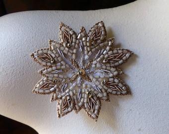 Beaded Applique Exquisite in Mocha No 11 for Bridal, Pendants, Handbags, Costumes, Jewelry, Home Decor.