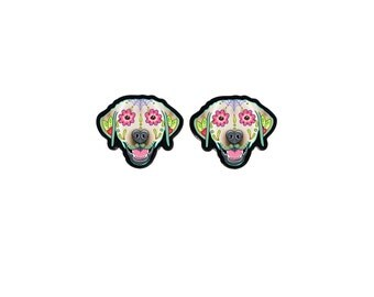 SALE Regularly 12.95 - Labrador Retriever in Yellow Earrings - Day of the Dead Sugar Skull Dog Earrings
