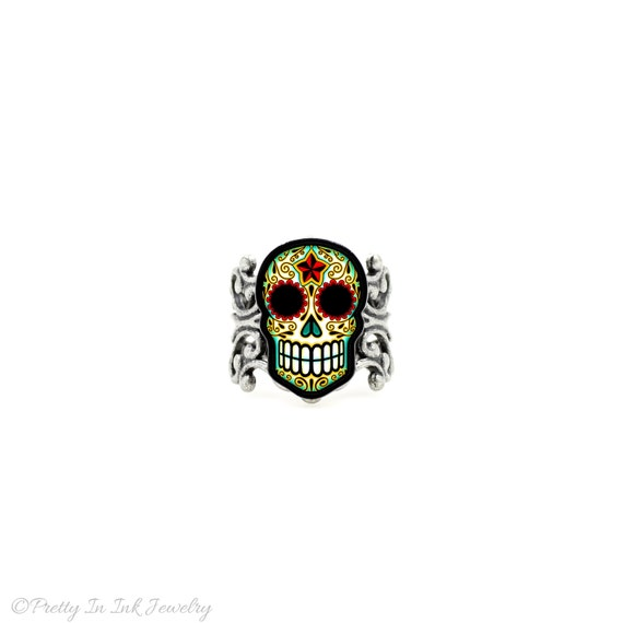 SALE Regularily 14.95 - Day of the Dead Filigree Sugar Skull Ring in an Antiqued Silver Finish - Adjustable Band