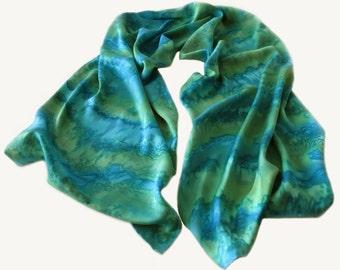 Teal Silk Scarf, Hand Painted Teal Silk Scarf, Hand Painted Grean Silk Scarf, Green Silk Scarf